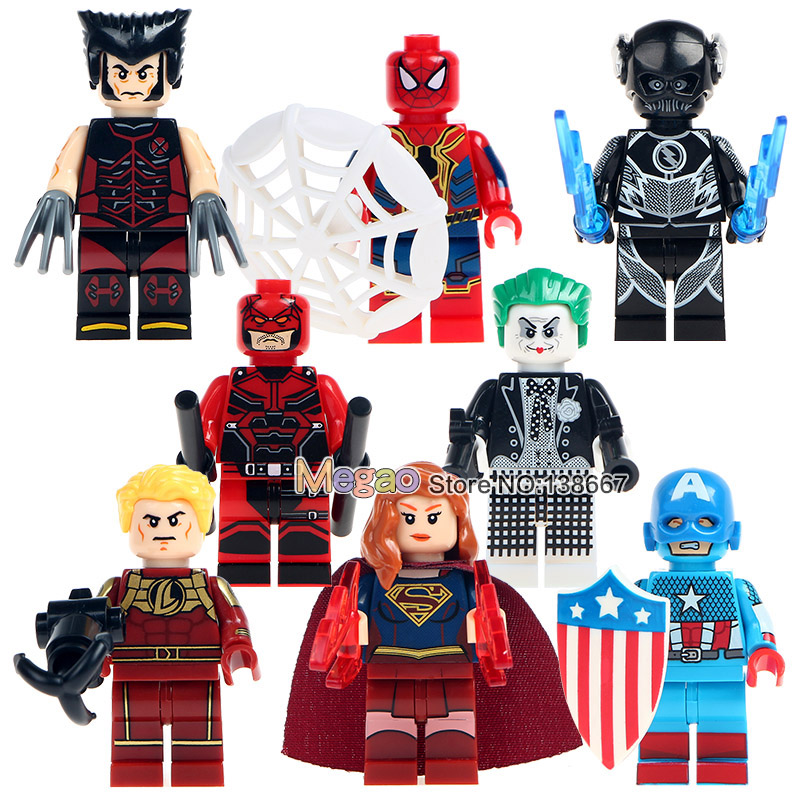 Blocks 8pcs/lot Sy678 Super Heroes Assemble Spiderman Captain America Supergirl Joker Building Blocks Collection Educational Gift Toys Lovely Luster