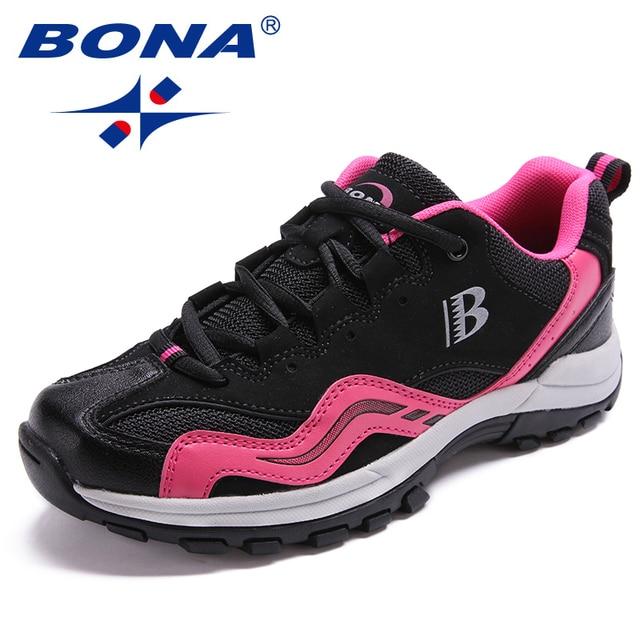 BONA คลาสสิกใหม่สไตล์ผู้หญิงเดินป่ารองเท้ากลางแจ้งรองเท้าวิ่ง Lace Up รองเท้าสบายจัดส่งฟรี