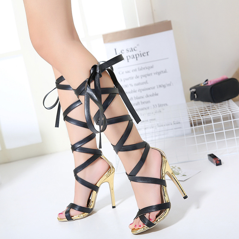 New summer shoes women knee high heels sandals sexy gladiator lace up sandal Genova Stiletto sandal woman Gold pumps boots new 2015 fashion lace up women pumps summer ladies high heels shoes sandals casual gladiator sandals women shoes ladies