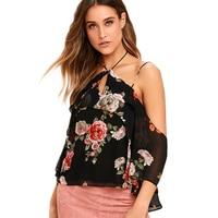 Black Floral Print Halter Blouses For Women Strappy Cold Shoulder Chiffon Shirts Ladies Open Back Cut