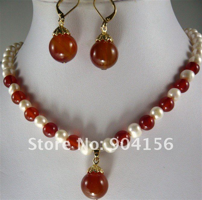 Quality White Pearl Red Exquisite Pendant Necklace Ruby Earring Jewelry Set Free Shipping In Sets From Accessories On Aliexpress