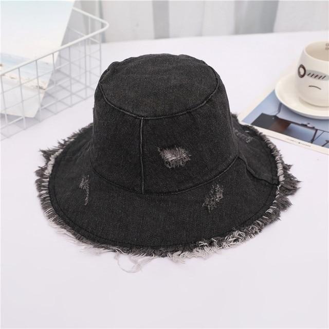 Summer Washed Denim Sun Hat...