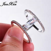 JUNXIN Geometry Rectangle Zircon White Rings For Women Men 925 Sterling Silver Filled Stackable Joint Ring Birthstone Jewelry