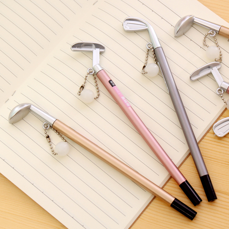 1Pcs New Metal Style Golf Ball Pendant 0.5mm Plastic Gel Pen Office School Gift Stationery Pen E0122