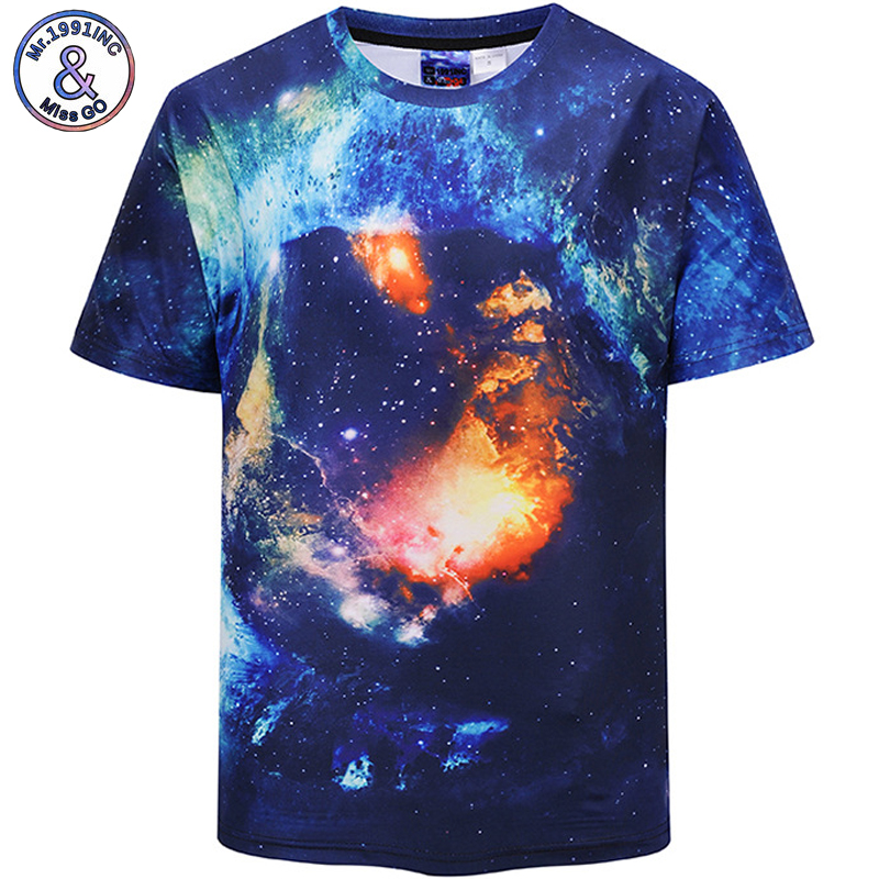 Mr.1991INC European Size 2018 New Hot Men t shirt Short Sleeve Summer 3D Digital starry sky print Tops Tees S-2XL DX802003#