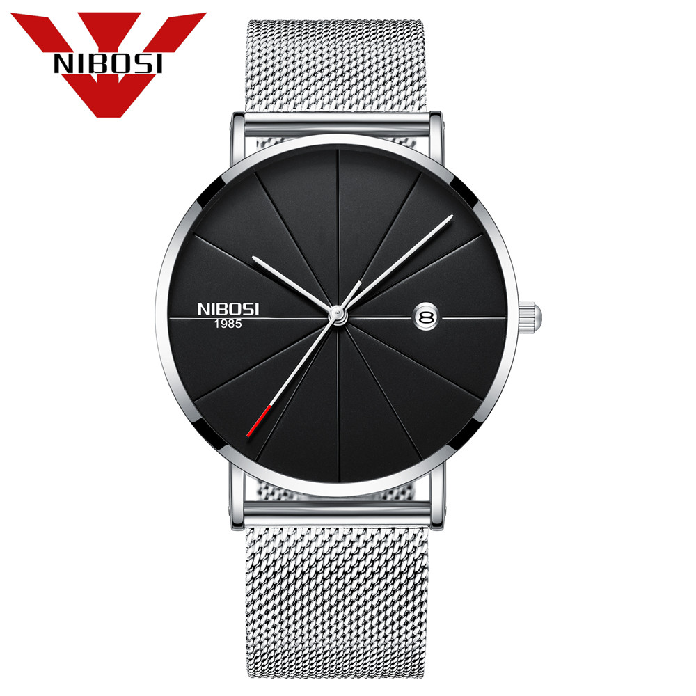 NIBOSI Top Luxury Brand Quartz Watch Men Casual Japan quartz-watch Stainless Steel Mesh Strap Ultra Thin Clock Male 2018 New burei top brand creative quartz watch men luxury casual black japan quartz watch simple designer fashion strap clock male new