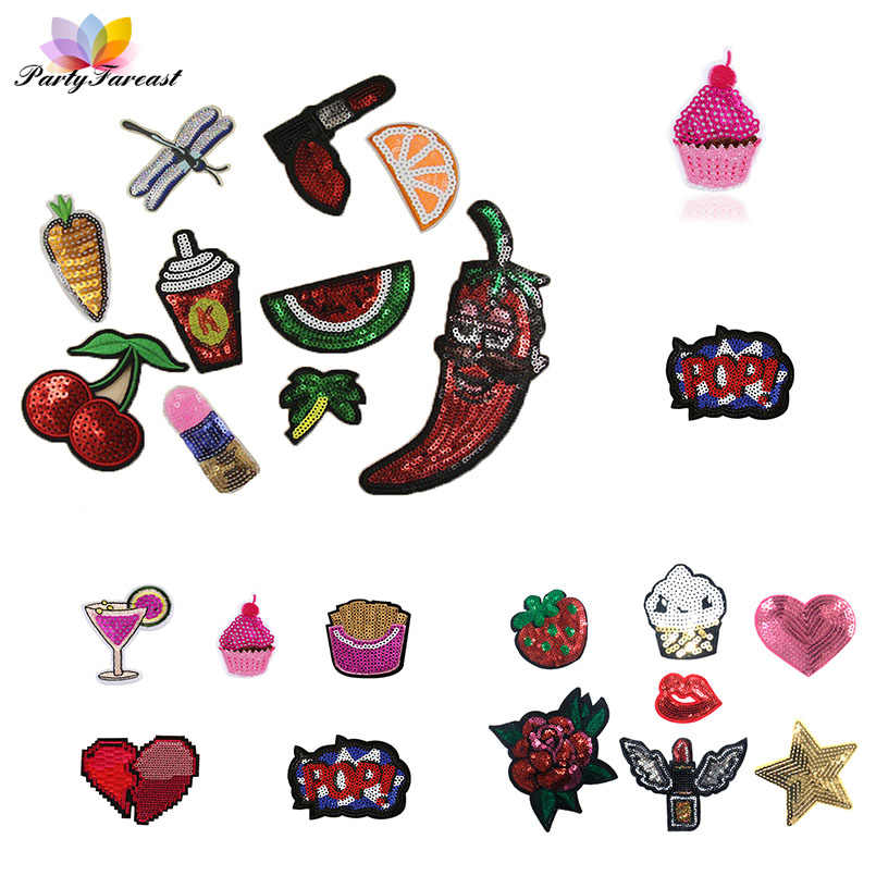 PF Sequin Applique Patches Fruits Stripes Thermo-stickers Embroidery Patch For Clothing DIY Fabric Costume Sticker Accessories