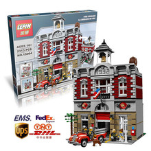 2016 New Arrival DHL Fedex Shipping LEPIN 15004 2313Pcs Fire Brigade Office Building Model set Minifigures Compatible With Legoe