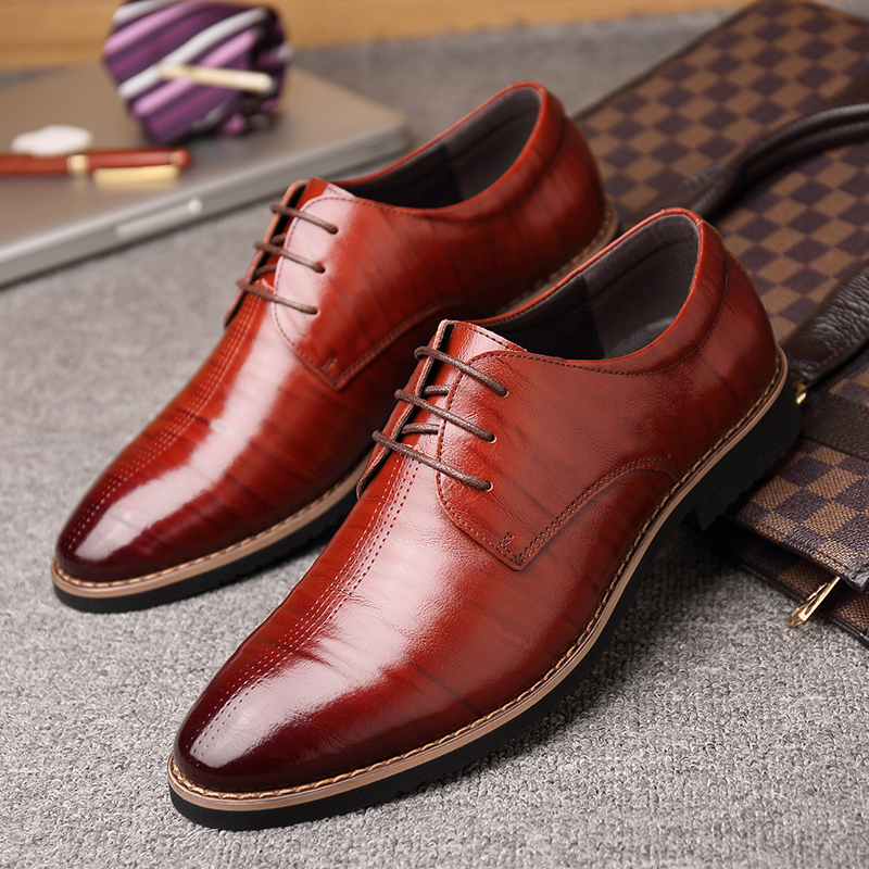 2018 New Black Wine Red Mature Men's Shoes Dress British Youth - Men's Shoes - Photo 3