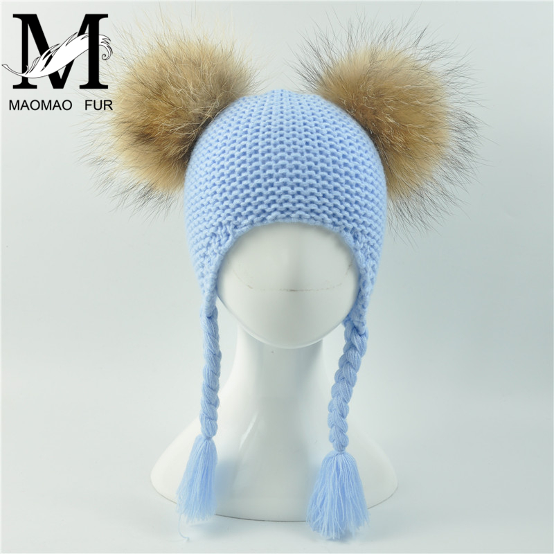 Kids Winter Two Real Fur Pompom Hat Children Crochet Hat for Girls Natural Fur Pompon Cap   Skullies     Beanies   Baby Boys Knit Hat