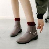 Big Size 11 12 13 14 15 16 17 Round headed fashion rough square heel belt buckle rivet boots children