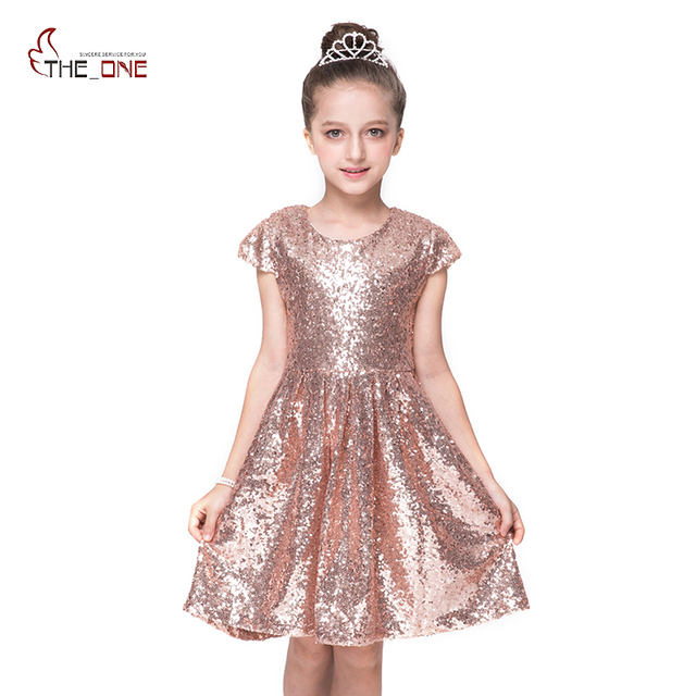 8b201eec3fb Summer Children Girls Sequined Princess Dresses European and American Style  Short Sleeve Knee-Length Evening Party Clothing
