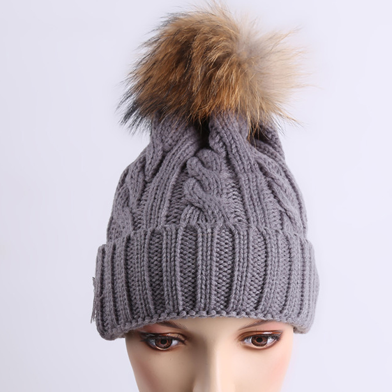 fur ball cap pom poms winter hat for women girl 's wool hat knitted cotton beanies cap brand new thick female cap 2017mink and fox fur ball cap pom winter hat for women girl s wool hat knitted cotton beanies cap brand new thick female cap