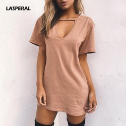 Lasperal сердце V Средства ухода за кожей Шеи Платья из хлопка новинка 2017 года Однотонная повседневная обувь свободные летние платья Для женщин