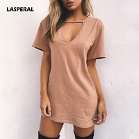 LASPERAL 2019 Sexy V Neck Cotton Summer Dresses Female Solid Casual Loose Dress Women A-Line Mini Vestidos Plus Size 3XL