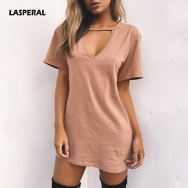 89d8560f5c US $6.62 35% OFF|LASPERAL 2019 Sexy V Neck Cotton Summer Dresses Female  Solid Casual Loose Dress Women A Line Mini Vestidos Plus Size 3XL-in  Dresses ...