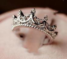Фотография XIUFEN Princess Silver Rhinestone Queen Crown Women Ring Vintage And Elegant Designs Special gift for girls