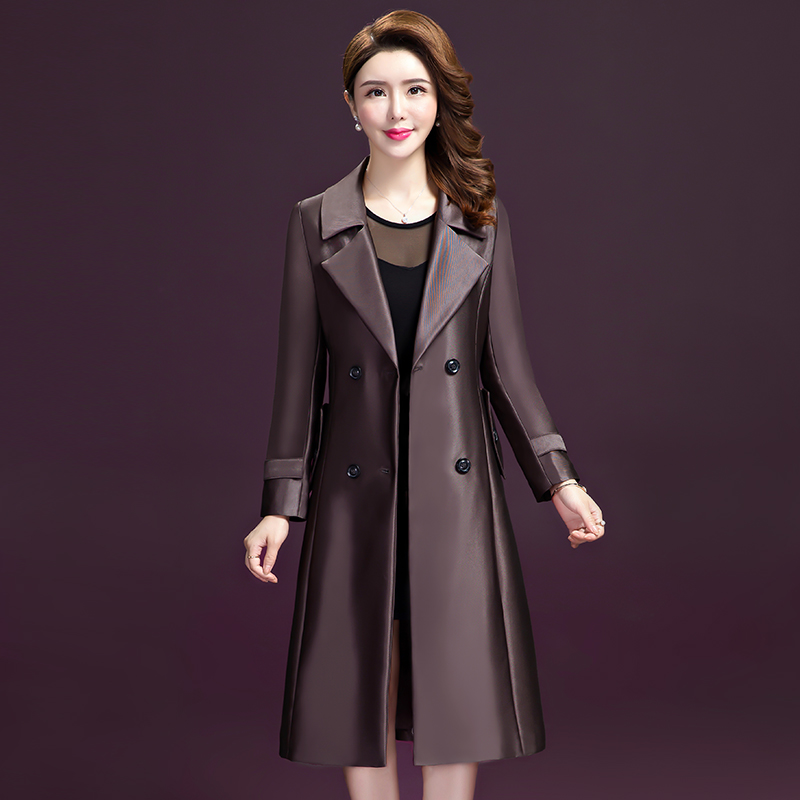 2019 Spring Autumn   Trench   Coat Women Fashion Medium Long Slim Streetwear Double Breasted Sashes Office Lady Outerwear Coat L-5XL