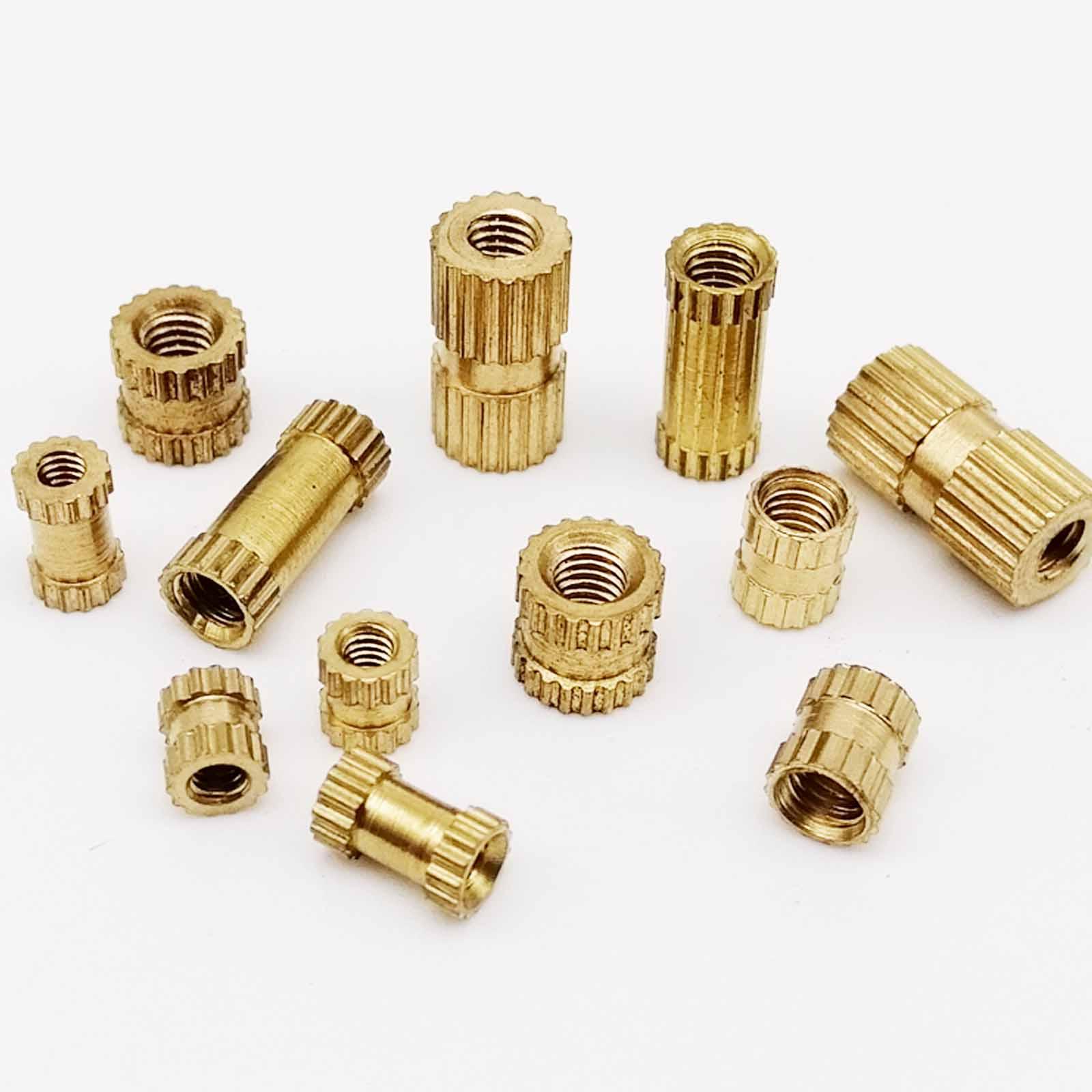 25X M2 M2.5 M3 Solid Brass Pure Copper Metric Thread Injection Molding Knurl Insert Nut Nutsert Round Shape Column OD 3.5 4 5mm