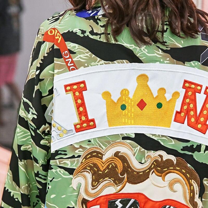 Photo Occasionnel Bf As Conception Manteau Turn Veste Patchwork Dessinée Col Down Long Cardigan De Tranchée Femmes Grande Bande Taille Camouflage Lâche RHqwdHa