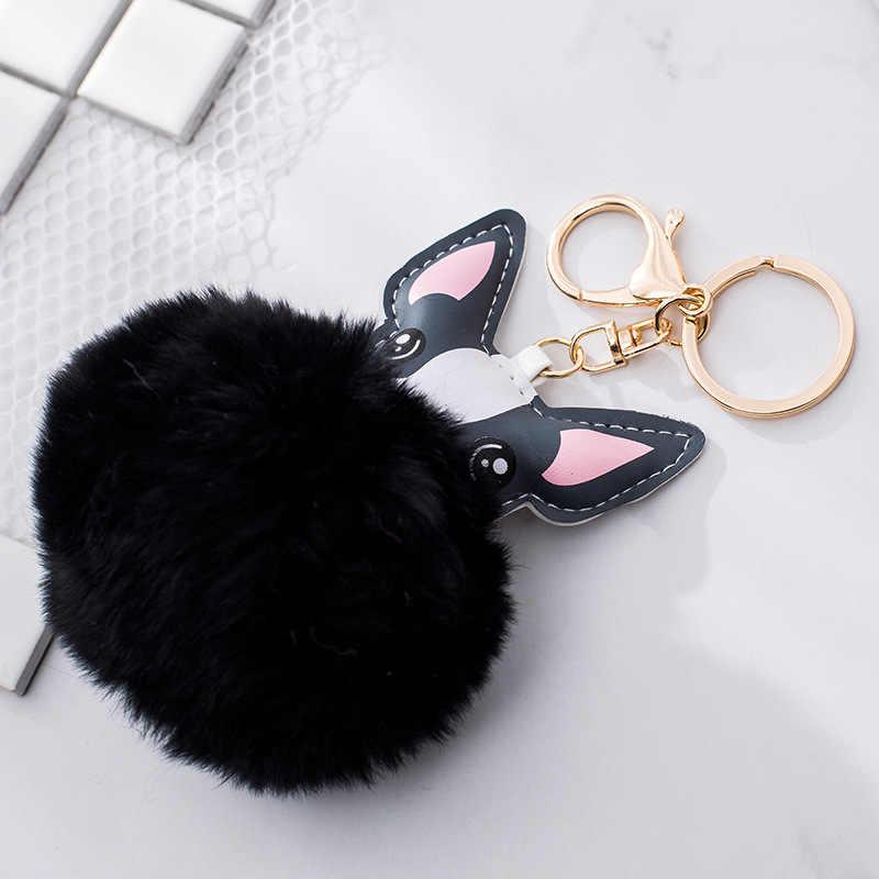 QiYuFang Fluffy Rabbit Fur Bola Chaveiro Animal Cão Buldogue Francês Saco Titular Chaveiro de Couro Pu Charme Bugiganga Chaveiro Pompom