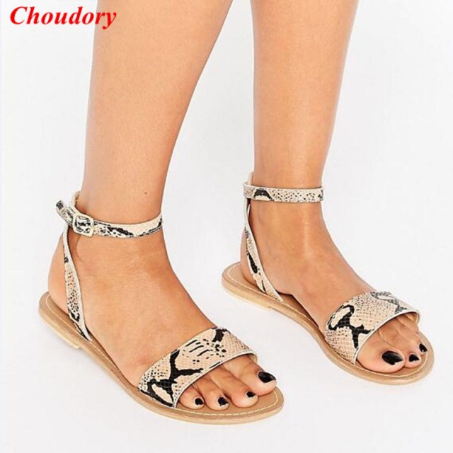 3b338842180b34 Summer Fashion Python Print Ankle Strap Women Flat Sandals Shoes Rome Style  Open Toe Gladiator Casual Beach Sandal Shoes Woman