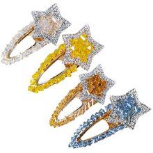 купить Korean Colored Faux Imitation Five-Pointed Star Hairpin Women Glitter Rhinestone Hair Styling Duckbill Clip Water Drop Barrettes онлайн