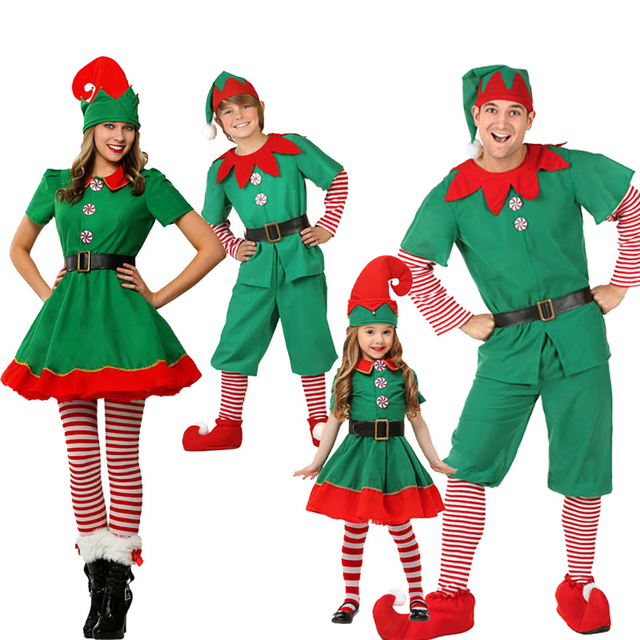 dd371e1c4 Family Matching Outfits Adult Child Santa Claus Helper Green Holiday Elf  Christmas Clothes Sweet Red Dress New Year Family Look