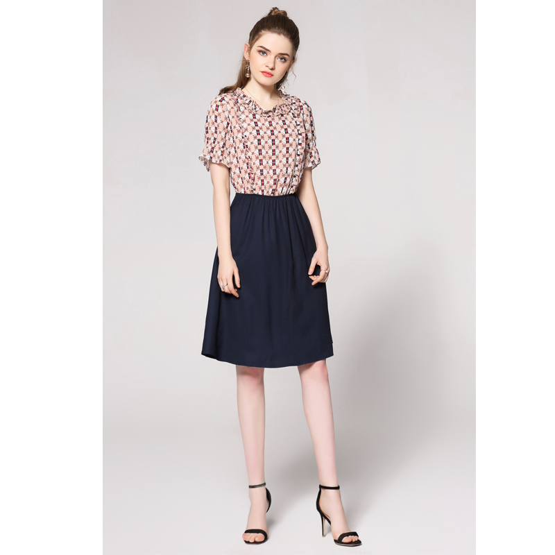 0da7619ccba MUSENDA Plus Size Women Pink Print Royal Blue Patchwork Dress Female Tunic  Elastic Waist Dresses Robe 2018 Summer Sundress 4XL-in Dresses from Women s  ...