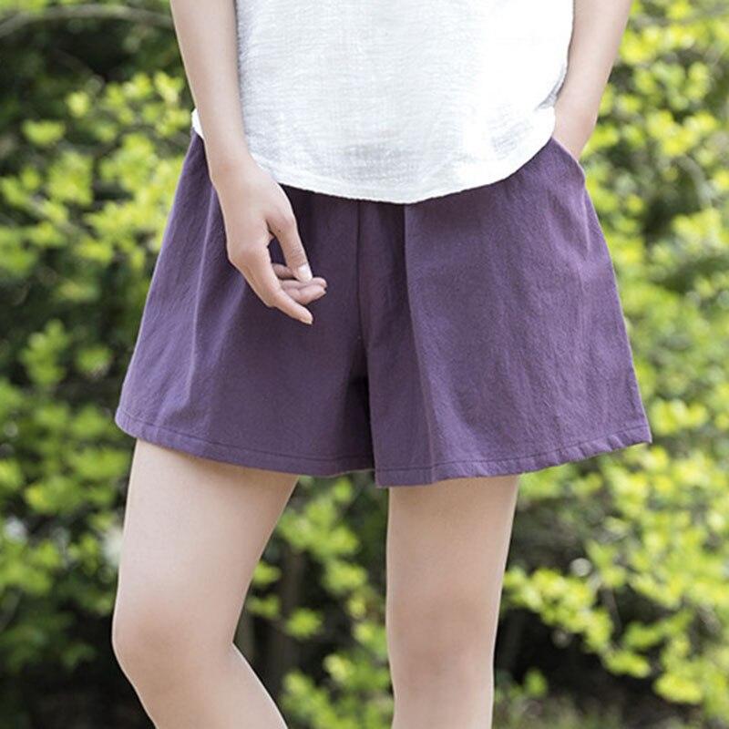 Fashion Women Cotton Linen Elastic Waist Shorts Solid