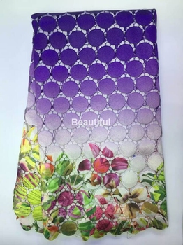 high quality New arrival  purple african guipure lace fabric material Nigerian cord lace fabric for women wedding dress 5yards