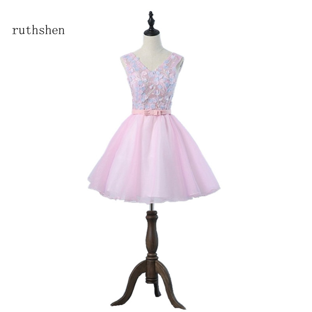 Bridesmaid     Dresses   Short Pink Mini Party Formal Junior Women Ladies Organza Wedding Guests   Dress   Appliques Young Women Frocks