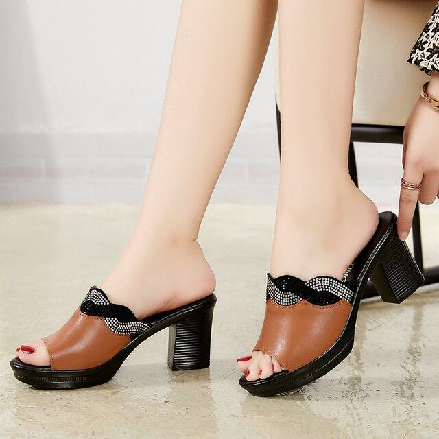 GKTINOO Women Slipper's 2019 Ladies Summer Slippers Shoes Women High Heels Fashion Rhinestone Summer Shoes Genuine Leather 1