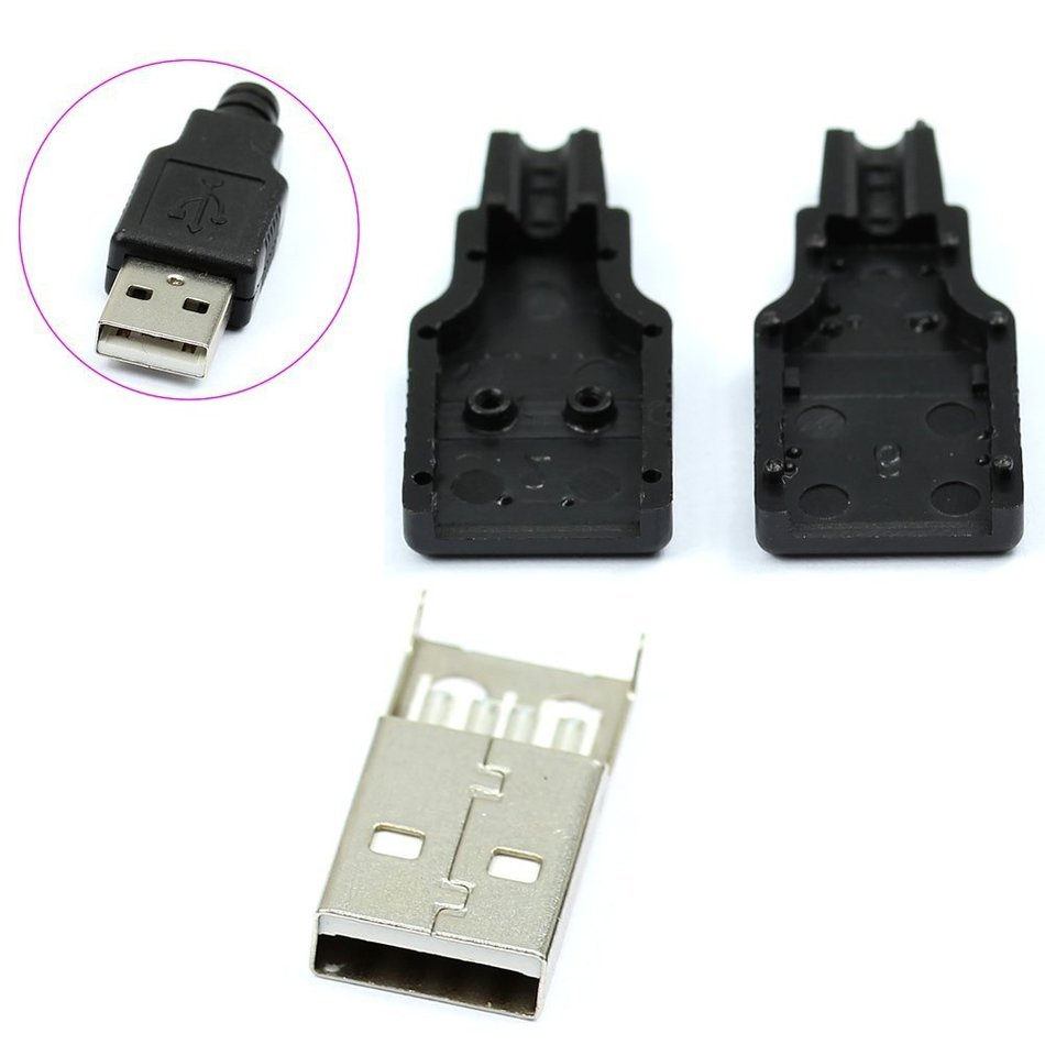 HWEXPRESS New 10pcs Type A Male USB 4 Pin Plug Socket Connector With Black Plastic Cover цена и фото