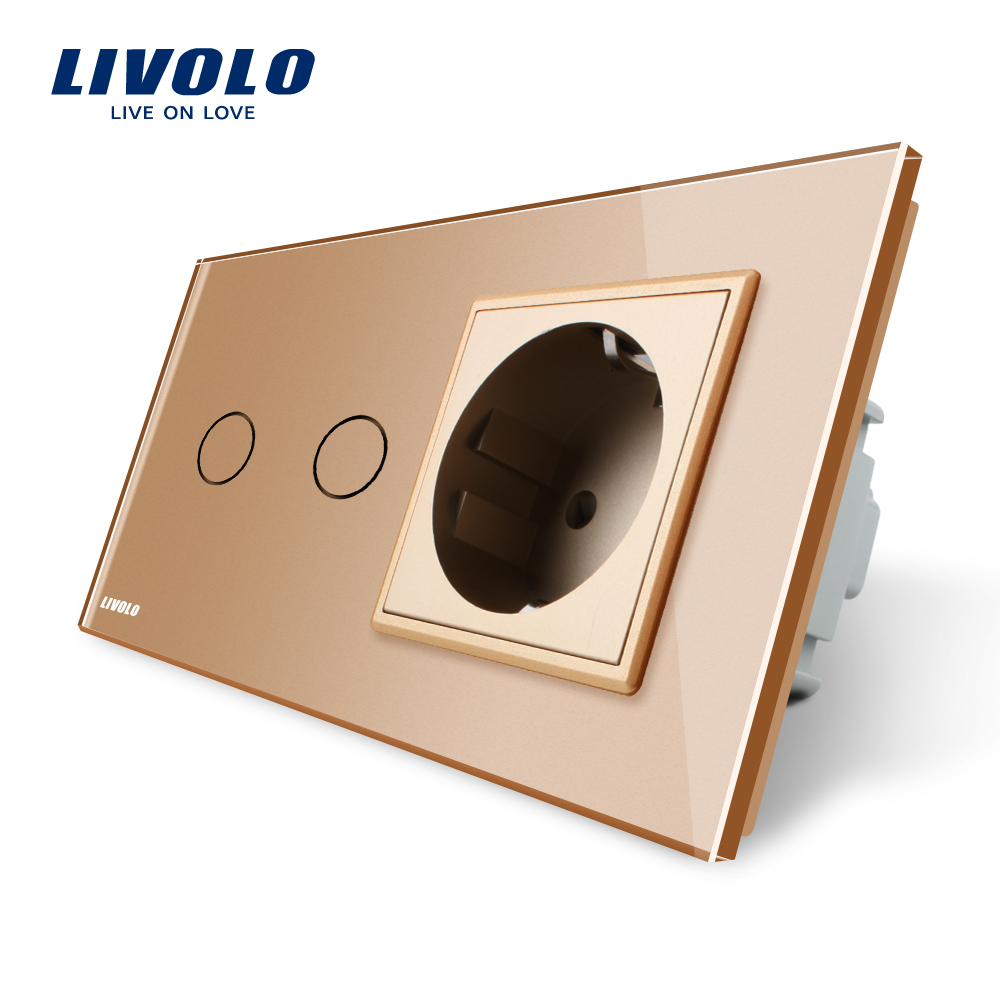 Livolo 16A EU standard Wall Power Socket, AC 220~250V,Golden Crystal Glass Panel,Touch Switch with Wall Outlet,C702-13/C7C1EU-13 atlantic brand double tel socket luxury wall telephone outlet acrylic crystal mirror panel electrical jack