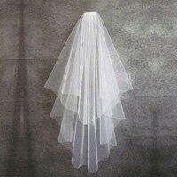 Wedding Accessories Short Simple Wedding Veil White Ivory Two Layer Bridal Veil With Comb Cheap Wedding Veil свадьба аксессуары 1