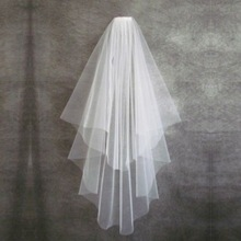 Hot Sale Wedding Accessories Short Simple Wedding Veil White Ivory Two Layer Bridal Veil With Comb Cheap Wedding Veil cheap VINOPROM Acetate Polyester CN(Origin) Adult One-Layer Shoulder Length Veil WOMEN Bridal Veils Yarn Dyed Cut Edge