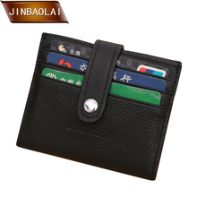 Men Genuine Leather Business Credit Card Holder Wallet Bifold Window ID Slim Mini Travel Wallet Brand Clutch New