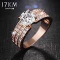 17KM New Simple Style Finger Rings rose Gold Color Zircon Fashion Jewelry Crystal Ring Anniversary Wedding Jewelry