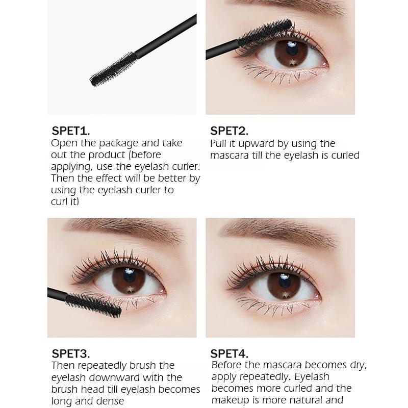 SANANA 4D Silk Fiber Lashes Thick Lengthening Mascara Long Black Lash Eyelash Extension Eye Lashes Brush Makeup Eye Cosmetics 3