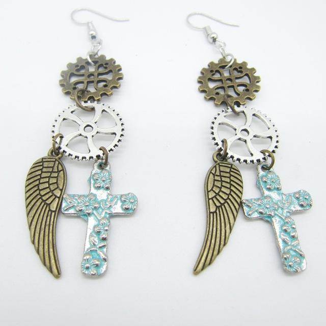 Vintage Gears With Cross And Wing Charms Women S Steampunk Earring