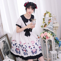 Mori Girl Harajuku Kawaii Panda Printed High Waist Black White Lolita OP Dress Female Bandage Bows Short Sleeve Cute Doll Dress