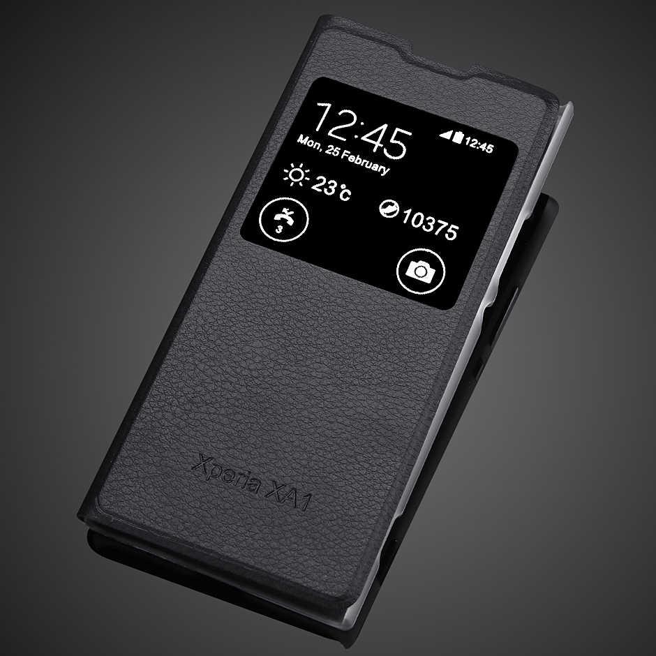 עבור sony xa1 יוקרה עמיד הלם טלפון תיק עבור sony Xperia XA1 Slim צפה חלון מעטפת PU Flip עור מקרה בחזרה כיסוי