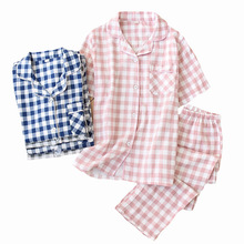 Mens And Womens Pajamas Set Spring New Gauze Cotton Plaid Lovers Sleepwear Simple Style Short Sleeve+Pant 2Piece Set Homewear