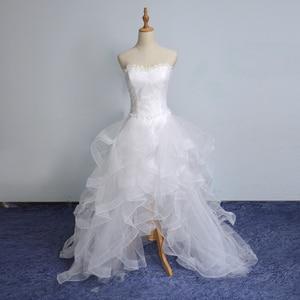 Image 4 - 2019 New Front Short Long Back Strapless Wedding Dress Sweet Bride Dress With Train Customized Wedding Gown Vestido De Noiva L