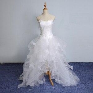 Image 4 - Vestido De novia corto por delante, largo, sin tirantes, con tren, Vestido De novia personalizado, novedad De 2019