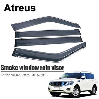 Atreus 4pcs For Nissan Patrol 2016 2017 2018 Car Accessories Door Smoke Window Sun Rain Visor Wind Deflectors Guard Shield Cover
