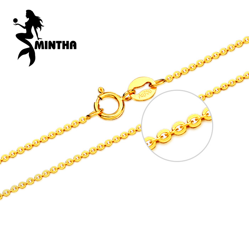 MINTHA Genuine 18K White Yellow Rose Gold Chain Cost Price Sale Pure 18K Gold Necklace for love Best Gift For women все цены