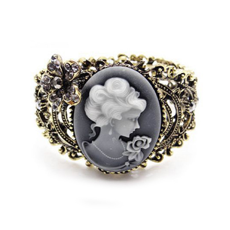 New Gold Tone Punk Trendy White Black Queen Marbleized Stone Cuff Bangle Bracelet for Women Fashion Jewelry