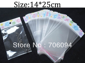 14*25cm,Thickness:0.08mm,800pcs/lot Clear Self Adhesive Seal Poly Opp Plastic Bag With Header,Custom logo Jewerly plastic bag